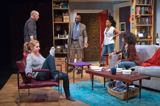 Kerry Butler, Kelly AuCoin, Russel G. Jones, Crystal A Dickinson and Eisa Davis in The Call. Photo by Jeremy Daniel.