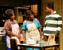 ELAIN GRAHAM, LILLIAS WHITE, and LARRY POWELL in While I Yet Live. (c) 2014 James Leynse Primary Stages production of While I Yet Live by Billy Porter, directed by Sheryl Kaller at Primary Stages at The Duke on 42nd Street.