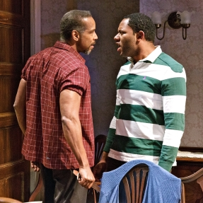 KEVYN MORROW and LARRY POWELL in While I Yet Live. (c) 2014 James Leynse Primary Stages production of While I Yet Live by Billy Porter, directed by Sheryl Kaller at Primary Stages at The Duke on 42nd Street.
