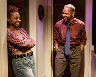 SHERIA IRVING and KEVYN MORROW in While I Yet Live. (c) 2014 James Leynse Primary Stages production of While I Yet Live by Billy Porter, directed by Sheryl Kaller at Primary Stages at The Duke on 42nd Street.