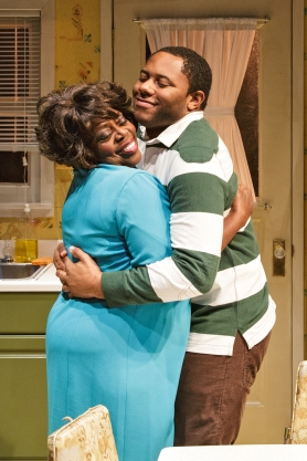 LILLIAS WHITE and LARRY POWELL in While I Yet Live. (c) 2014 James Leynse Primary Stages production of While I Yet Live by Billy Porter, directed by Sheryl Kaller at Primary Stages at The Duke on 42nd Street.