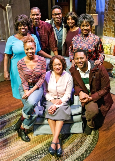 Standing: LILLIAS WHITE, KEVYN MORROW, BILLY PORTER, SHARON WASHINGTON, ELAIN GRAHAM; seated: SHERIA IRVING, S. EPATHA MERKERSON, and LARRY POWELL in While I Yet Live. (c) 2014 James Leynse Primary Stages production of While I Yet Live by Billy Porter, directed by Sheryl Kaller at Primary Stages at The Duke on 42nd Street.