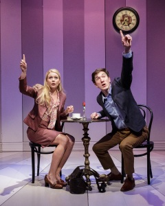 Liv Rooth and Carson Elrod in the 2013 Primary Stages production of All in the Timing.