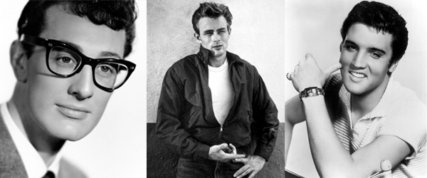 Buddy Holly, James Dean, Elvis Presley