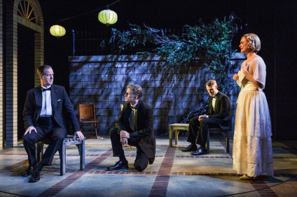 """Matt Sullivan, Devon Abner, Dan Bittner, and Rebecca Brooksher in the Primary Stages production of """"The Roads to Home"""" by Horton Foote."""