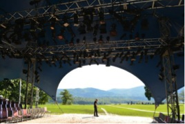 The Theatre Tent at the Boscobel House and Gardens during the day.