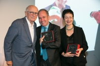 Terrence McNally presents awards to Stephen Flaherty and Lynn Ahrens
