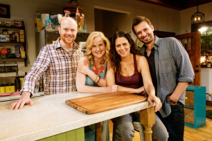 "Primary Stages production of Theresa Rebeck's ""Poor Behavior"" in 2014 featuring Jeff Biehl, Heidi Armbruster, Katie Kreisler, and Brian Avers."
